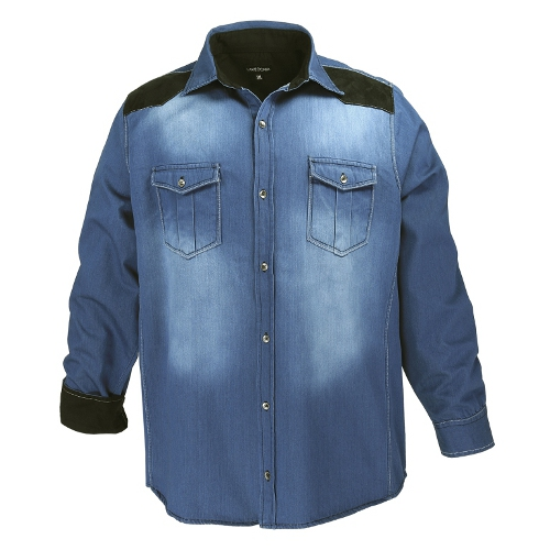 Lavecchia herren jeanshemd langarm freizeithemden for Jeanshemd damen lang
